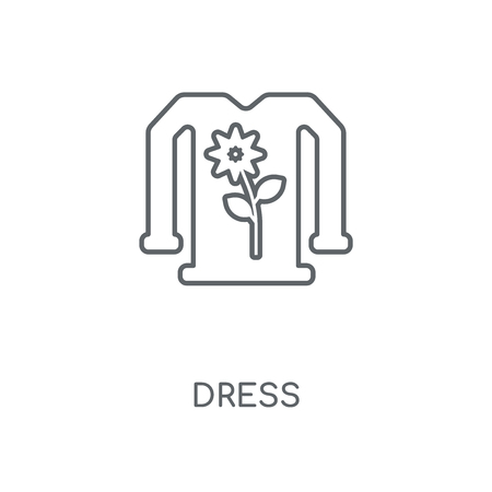 Dress linear icon. Dress concept stroke symbol design. Thin graphic elements vector illustration, outline pattern on a white background, eps 10.