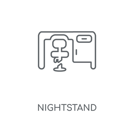 Nightstand linear icon. Nightstand concept stroke symbol design. Thin graphic elements vector illustration, outline pattern on a white background, eps 10. Archivio Fotografico - 111499647