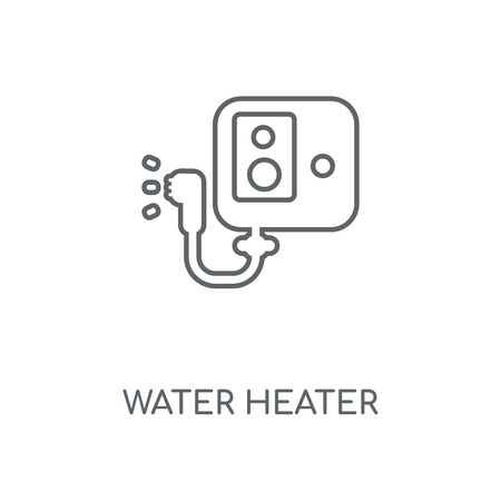 Lineares Symbol für Warmwasserbereiter. Warmwasserbereiter Konzept Schlaganfall Symbol Design. Dünne grafische Elemente Vektor-Illustration, Umrissmuster auf weißem Hintergrund, eps 10.