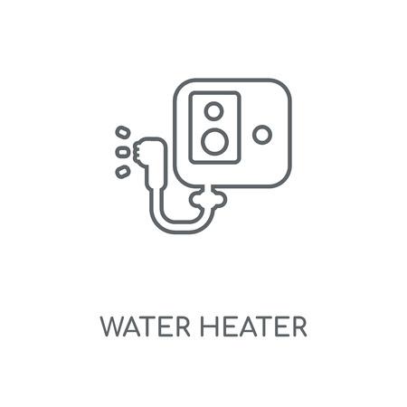 Waterverwarmer lineaire pictogram. Waterverwarmer beroerte symbool conceptontwerp. Dunne grafische elementen vectorillustratie, overzichtspatroon op een witte achtergrond, eps 10.