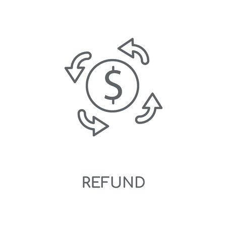 Refund linear icon. Refund concept stroke symbol design. Thin graphic elements vector illustration, outline pattern on a white background, eps 10.