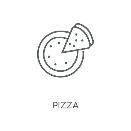 Pizza linear icon. Pizza concept stroke symbol design. Thin graphic elements vector illustration, outline pattern on a white background, eps 10. Çizim