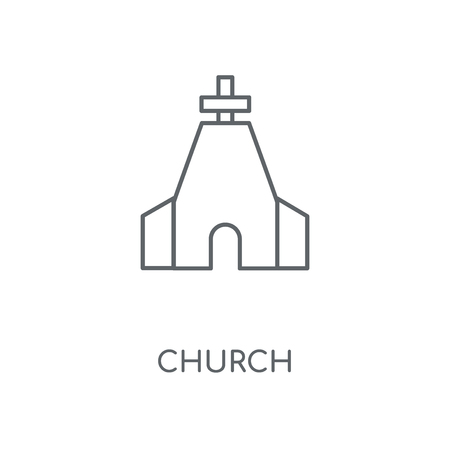 Church linear icon. Church concept stroke symbol design. Thin graphic elements vector illustration, outline pattern on a white background, eps 10.  イラスト・ベクター素材