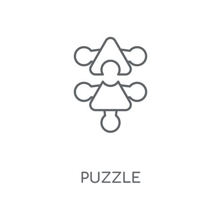 Puzzle linear icon. Puzzle concept stroke symbol design. Thin graphic elements vector illustration, outline pattern on a white background, eps 10.