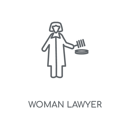 Woman Lawyer linear icon. Woman Lawyer concept stroke symbol design. Thin graphic elements vector illustration, outline pattern on a white background, eps 10.
