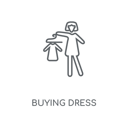 Buying Dress linear icon. Buying Dress concept stroke symbol design. Thin graphic elements vector illustration, outline pattern on a white background, eps 10.