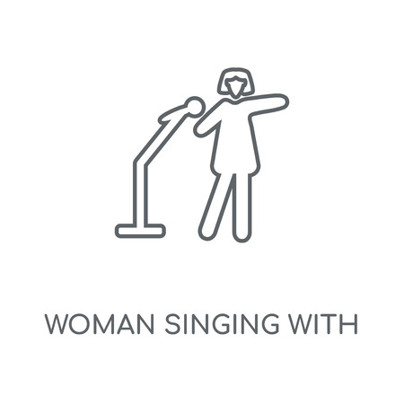 Woman Singing with Microphone linear icon. Woman Singing with Microphone concept stroke symbol design. Thin graphic elements vector illustration, outline pattern on a white background, eps 10.
