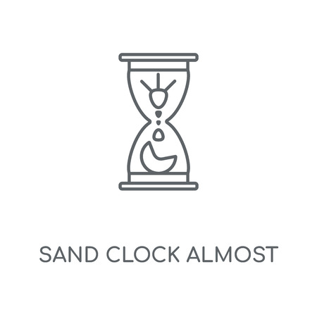 Sand Clock Almost Finish linear icon. Sand Clock Almost Finish concept stroke symbol design. Thin graphic elements vector illustration, outline pattern on a white background, eps 10. Stock Vector - 112442366