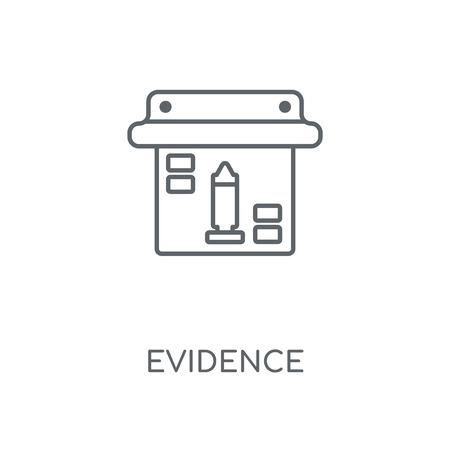 Evidence linear icon. Evidence concept stroke symbol design. Thin graphic elements vector illustration, outline pattern on a white background, eps 10.