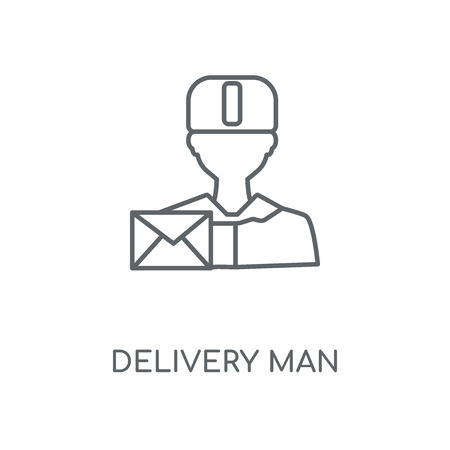 Delivery man linear icon. Delivery man concept stroke symbol design. Thin graphic elements vector illustration, outline pattern on a white background, eps 10.