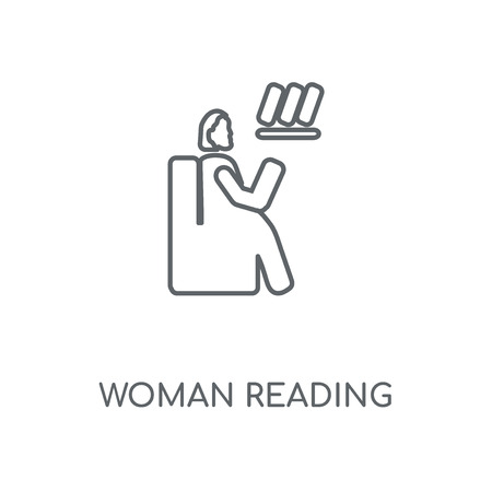 Woman Reading linear icon. Woman Reading concept stroke symbol design. Thin graphic elements vector illustration, outline pattern on a white background, eps 10.