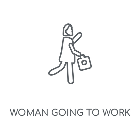 Woman Going To Work linear icon. Woman Going To Work concept stroke symbol design. Thin graphic elements vector illustration, outline pattern on a white background, eps 10. Illustration
