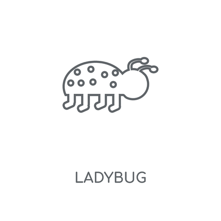 Ladybug linear icon. Ladybug concept stroke symbol design. Thin graphic elements vector illustration, outline pattern on a white background Ilustração