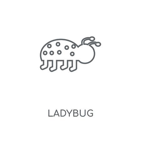 Ladybug linear icon. Ladybug concept stroke symbol design. Thin graphic elements vector illustration, outline pattern on a white background Illustration