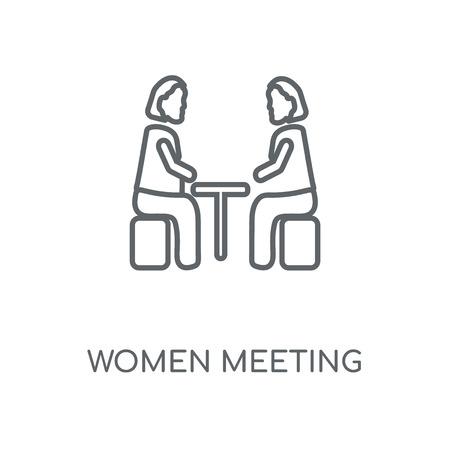 Icône linéaire de réunion de femmes. Conception de symbole de course de concept de réunion de femmes. Illustration vectorielle d'éléments graphiques minces, motif de contour sur fond blanc, eps 10.