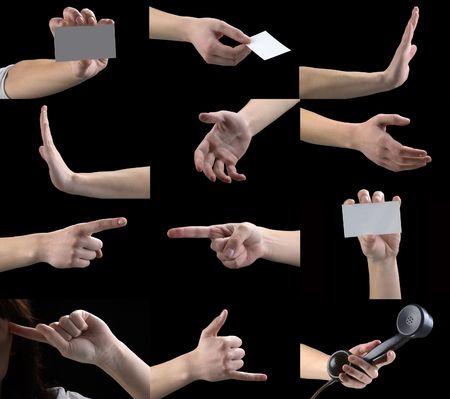 obscene: set of gestures, hands, fingers Stock Photo