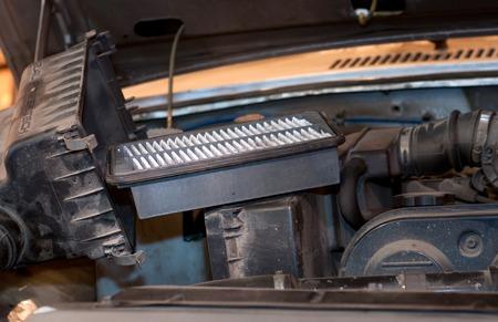 replacing: replacing the air filter car Stock Photo