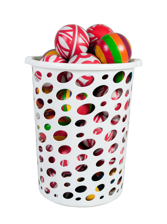 pull toy: white cart colored childrens balls