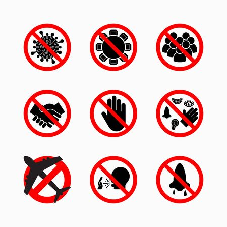 set of prohibit virus icon, coronavirus safety measures and precautions, how to protect yourself and others