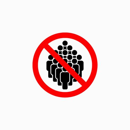 no crowd of people icon, do not crowd vector
