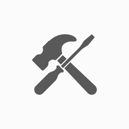 screwdriver and hammer tools icon Çizim