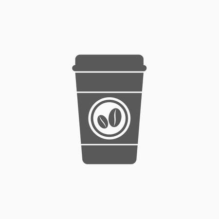 Disposable coffee cup icon with coffee beans logo