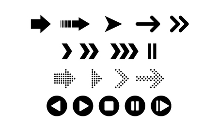 Set of black vector arrows. Arrow icon. Arrow vector icon. Arrow. Arrows vector collection - Vector Ilustrace