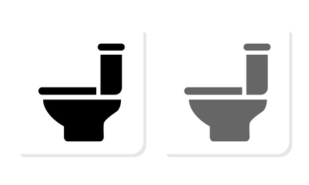 WC Black and White Square Icon - Illustration Çizim