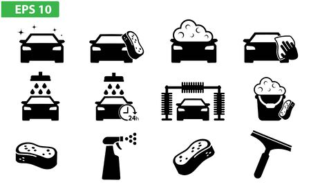 Car wash icon set flat design, app, web, icons, button, cleaning machine, detailing, Illustration