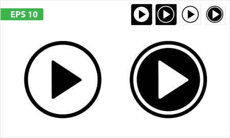 Play icon flat, eps 10 button isolated, white or black rounded and square. Archivio Fotografico - 135490908