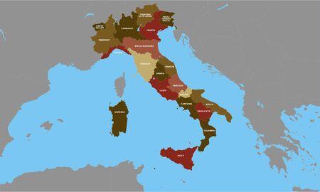 Mappa dell'Italia alta dettagliata, modificabile. vettore colorato, con paesi, etichetta, bordi, mare e lago Vettoriali