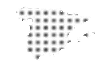Dotted spain map vector, isolated background. Flat Earth, gray map template for web site pattern, anual report, inphographics. Travel worldwide, map silhouette backdrop 矢量图像