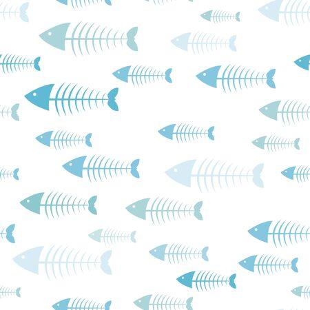 Fish background, skeleton fish, seamless pattern, sea color. Abstract vector illustration Illustration