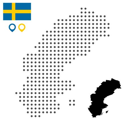 Map of Sweden dotted with flag and map marker. Vector illustration. Web design, wallpaper, flyers, footage, posters, brochure, banners.