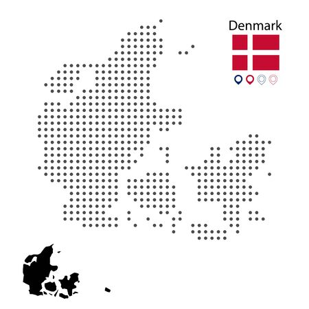 Map of Denmark vector dotted, with flag and map marker. Vector silhouette black illustration. Web design, wallpaper, flyers, footage, posters, brochure, banners. Çizim