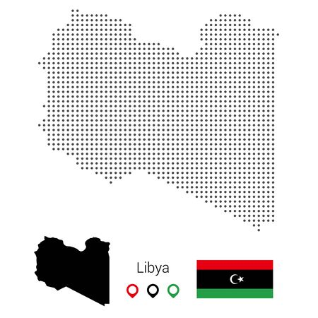Libya map vector dotted, with flag and pin. Vector Illustration