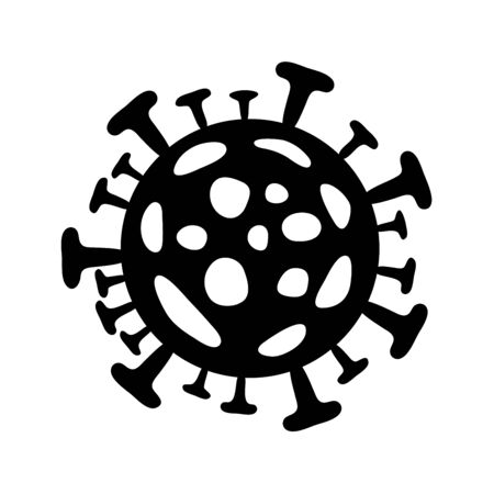 Coronavirus icon. Vector  2019-ncov, flat black pandemic virus