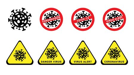 Coronavirus icons set. 2019-ncov icons red and yellow. Alert virus, danger virus Stock Illustratie