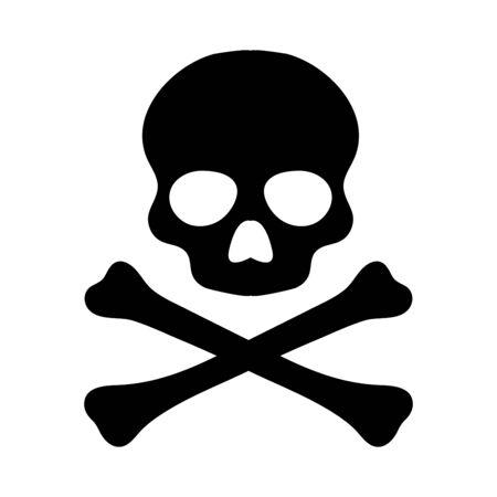 Crossbones. Death skull, danger or poison flat vector icon for apps and websites Vecteurs