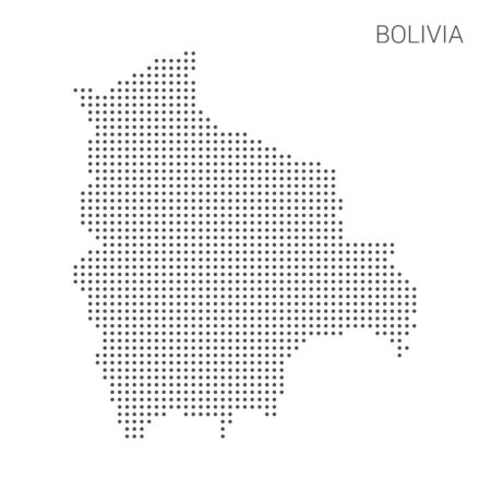 Bolivia map dotted on white background vector isolated. Illustration for technology design or infographics. Isolated on white background. Travel vector illustration