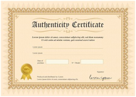 Certificate of authenticity, vector illustration with watermark and stamp. A5 format