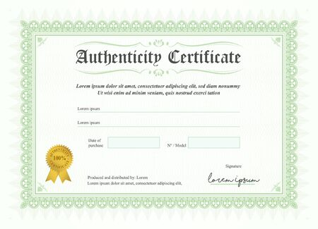 Certificate of authenticity, vector illustration with watermark and stamp. A5 format, green colour