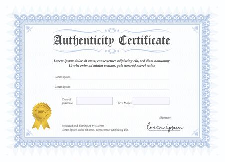 Certificate of authenticity, vector illustration with watermark and stamp. A5 format, blue colour