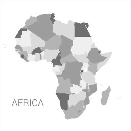 Detailed africa map with borders of states isolated on white background vector illustration.