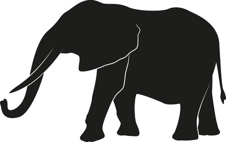 Elephant silhouet Stock Illustratie