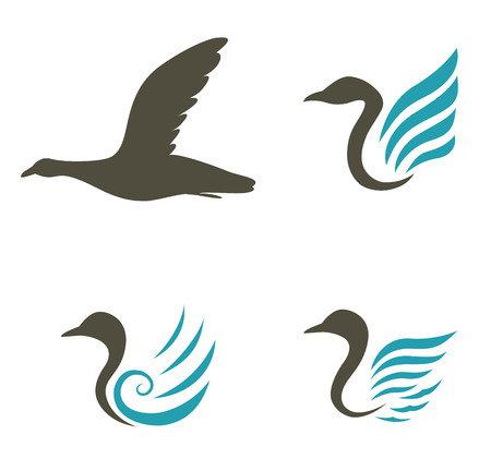 Swan icons isolated on white background Vector