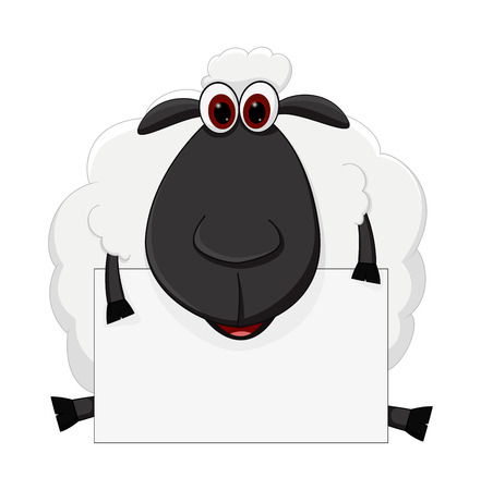 Sheep cartoon sit with sign Ilustração