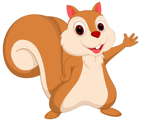 Happy squirrel cartoon presenting