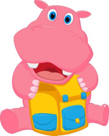 hipopotamo caricatura: De dibujos animados hipop�tamo feliz con el bolso de escuela Vectores