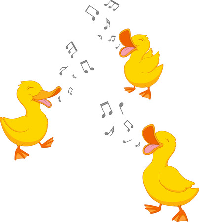 huevo caricatura: Canto pato feliz